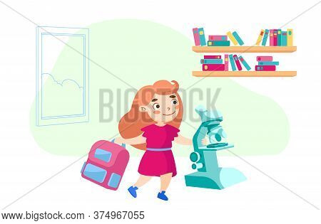 Schoolgirl Character With Backpack And Microscope In School. Education Or Knowledge Concept. Kid Stu