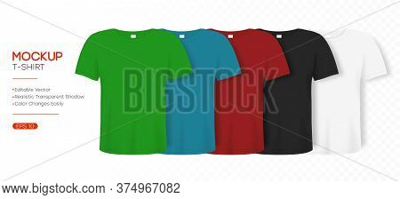 T-shirt Realistic Mockup In Differents Colors. 3d Template Of Tee Shirt With Short Sleeve. Basic Edi