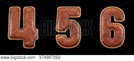 Set of numbers 4, 5, 6 made of leather. 3D render font with skin texture isolated on black background. 3d rendering