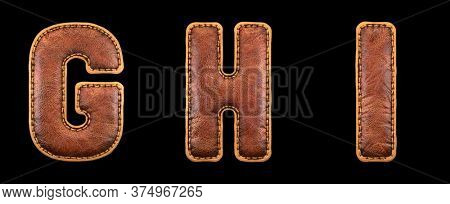 Set of leather letters G, H, I uppercase. 3D render font with skin texture isolated on black background. 3d rendering