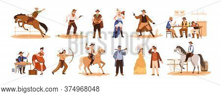 Set Of Wild West Cartoon Characters Vector Flat Illustration. Collection Of Cowboy Ride On Horse, Sh