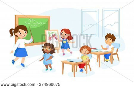 Schoolkids Characters Get Education. Back To School Concept With Children And Teacher. Young Woman A