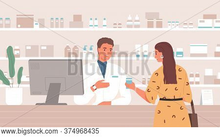 Smiling Male Pharmacist Consulting Female Customer Standing At Counter In Pharmacy Vector Flat Illus