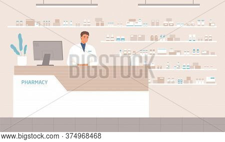 Friendly Male Pharmacist Standing At Counter In Pharmacy Vector Flat Illustration. Positive Seller I