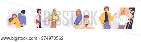 Distrust In People Relationship. Concept Of Mistrust, Betrayal, Cheating On White Background. Set Of