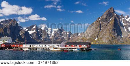 Hamnoy Village on the Lofoten Islands, Reinefjord,  Norway. Panoramic Shot,  Mountain In Background