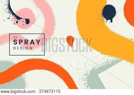 Abstract Vector Background With Spray Paint Texture. Colorful Graffiti Backdrop With Blots Of Paint