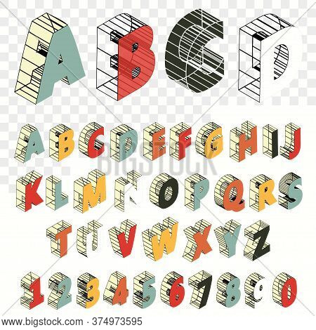 Isometric Line Font. Alphabet Letters. Three Dimensional Effect Letter And Number. Vector