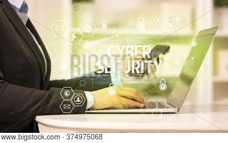 CYBER SECURITY inscription on laptop, internet security and data protection concept, blockchain and cybersecurity
