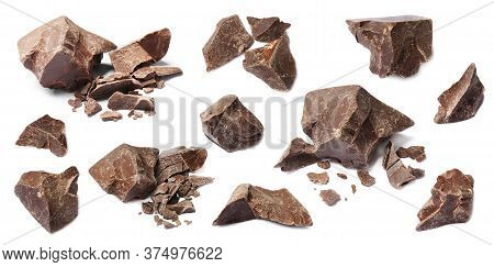 Set With Delicious Dark Chocolate Chunks On White Background. Banner Design