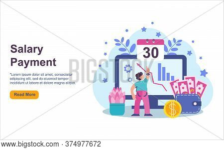 Payroll, Salary Payment Administrative Vector Illustration Concept, Men Accountant Calculating Payme