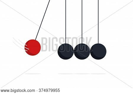 Newton Cradle. Vector Islated Illustration. Sphere Hanging On Threads And Hiting Other. Business Tea