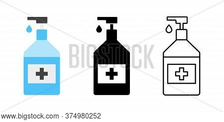 Sanitizer Icon Collection. Vector Isolated Sanitizer Collection. Antibacterial Hand Sanitizer Gel Ic