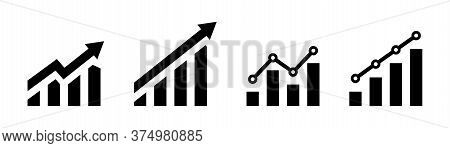 Growing Graph Icon. Vector Isolated Element. Growing Char With Arrow. Profit Line Progress Sign. Sto