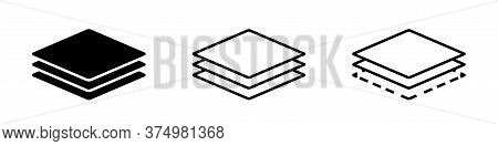 Layer Line Icon. Vector Isolated Elements. Outline Three Layers Of Roof Vector Icon. Stock Vector.