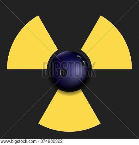 Radiaction Symbol With Bowling Ball. Caution Radioactive Danger Sign. Bowling Quarantined. Cancellat