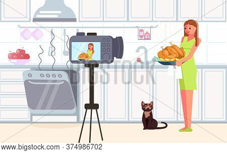 Woman Blogger Shooting Video Content For Broadcast Social Media Networking Concept. Freelancer Creat