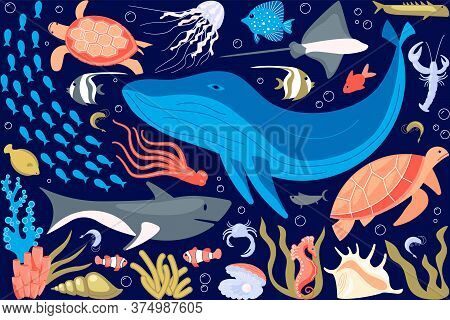 Set Of Underwater Life Elements, Tropical Animals, Corals And Fishes.