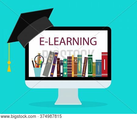 Online Education In School. Book In Computer. E-learning At Home. Online Study, Teaching Concept. Le
