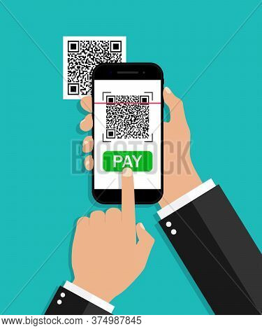 Qr Code Scan From Mobile. Payment From Phone. Smartphone With Scanner And Reader Barcode. Receipt Fo