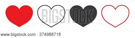 Heart Icon. Red, White, Black Symbol Of Love. Simple Shape Of Heart For Like, Wedding. Silhouette Of