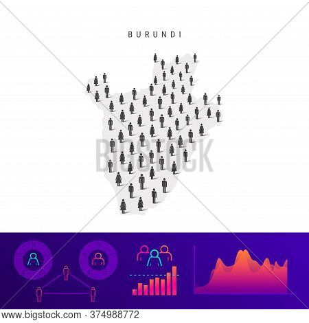Burundi People Map. Detailed Vector Silhouette. Mixed Crowd Of Men And Women Icons. Population Infog