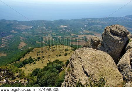 Set Of Some Mountains In Crimea, Crimean Nature
