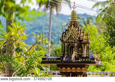 A House Of Spirits For Worshiping Deities, A Tradition Of Veneration Of Saints In Thailand, On The T