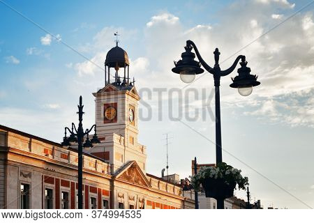 Bell tower of Royal House of the Post Office (Real Casa de Correos) in Puerta del Sol in Madrid, Spain.