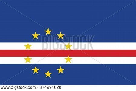Cape Verde Flag Vector Graphic. Rectangle Cape Verdean Flag Illustration. Cape Verde Country Flag Is