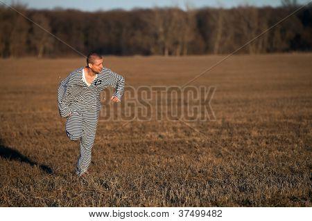Portrait of an escaping prisoner