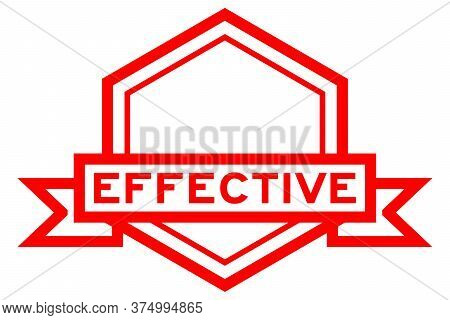 Hexagon Vintage Label Banner In Red Color With Word Effective On White Background