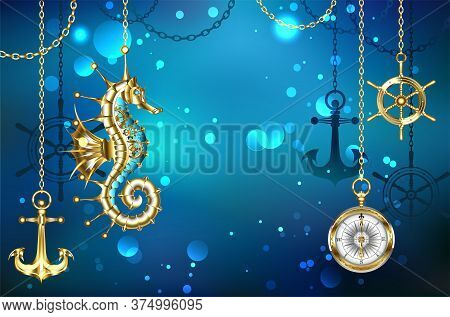 Jewelry, Antique, Mechanical Seahorse On Marine, Underwater Background With Gold Anchor And Helm Han