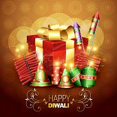 beautiful diwali crackers background design illustration poster