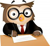 Illustration of a Nerdy Owl Writing on a Piece of Paper poster