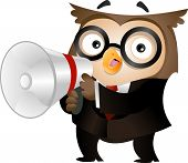 Illustration of an Owl Clad in Business Attire and Holding a Megaphone poster