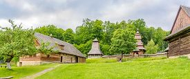 Bardejov,slovakia - June 10,2020 - Panoramic View At The Wooden Church Of St.nicholas From Mikulasov