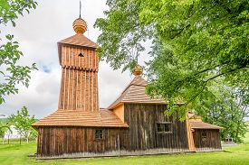 Jedlinka,slovakia - June 10,2020 - View At The Wooden Church Of Protection Of The Blessed Virgin In