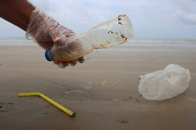 Beach clean up. Picking up plastic straws, bottles and bags which pollute the sea shore