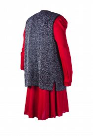 Female Gray Vest Is Put On A Summer Red Dress Isolated On A White Background. Comfortable Clothes