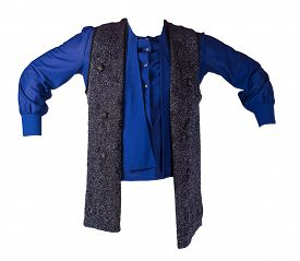 Female Blue Blouse With Dark Grey Vest Isolated On White Background.fashion Women Clothes