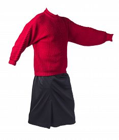Female Long Black Skirt And Knitted Red Sweater Isolated On White Background.comfortable Clothes For