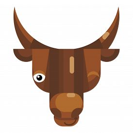 Winking Bull Face Emoji, Happy Funny Cow Icon Isolated Emotion Sign