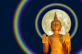 Buddha Pacifying The Ocean And Full Moon Two Halo On The Asanha Bucha Day
