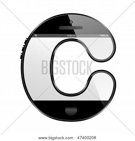 smart phone shaped, alphabet design letter, C