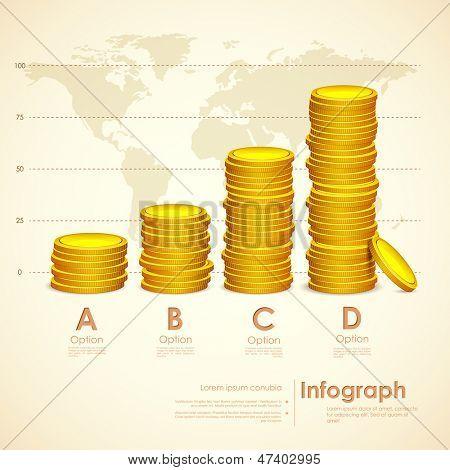 Ilustración de una moneda de oro bien pila sobre fondo de mapa de mundo