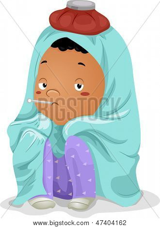 Illustration of a Sick Little Kid Boy Wrapped in Blanket with Thermometer on Mouth and Ice Bag on Head
