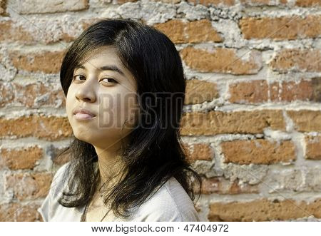Pretentious Girl Over Brick Wall