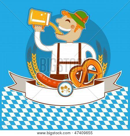 Oktoberfest Symbol Kabel With Man And Beer.vector Color Illustration