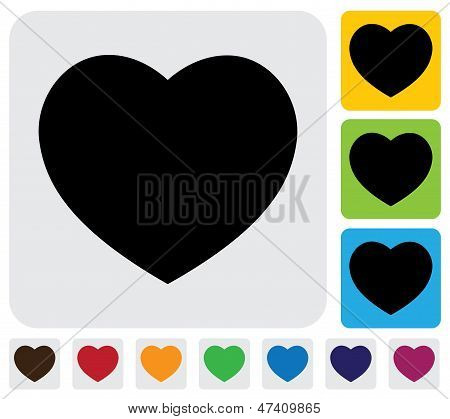 human heart icon(symbol) for love- simple vector graphic. This illustration has the heart icon on grey green orange and blue backgrounds & useful for websites documents printing etc poster